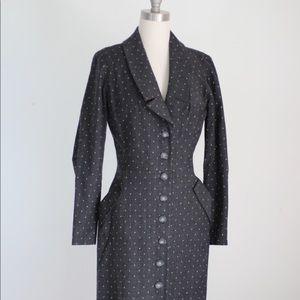 Vintage Gray Polka Dot Wool Blend Coat Dress S/M